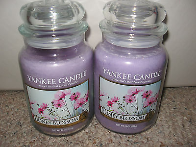 Yankee Candle Honey Blossom Set Of Two (2) Large Jar 22oz Candles