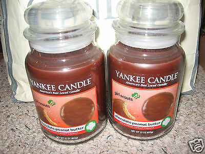 Yankee Candle Girl Scout Cookies Chocolate Peanut Butter X2 Set Large 22oz Jars