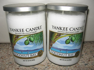Yankee Candle Coconut Bay Large 2 Wick Tumblers 22oz Candle Set Of 2 Rare