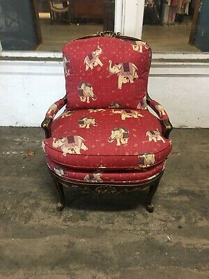Wesley Hall Upholstered Lounge Chair Elephant Print