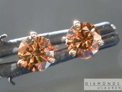 1.00ctw natural brown i1 round diamond earrings r7829 diamonds by lauren