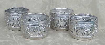 4 antique indian kashmir persian sterling cups beakers hunting animals signed