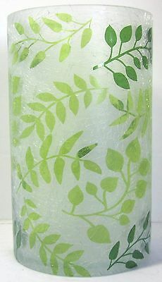Yankee Candle Large Jar Holder Olive Tendril Frosted Crackle Glass #1552528 New
