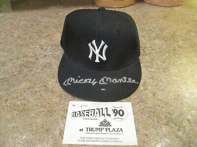 Mickey Mantle Signed Authentic Diamond 7 1/4 Yankee Cap 90 Trump Atlantic City