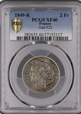 France Ceres 2 Francs 1849 K Pcgs Xf 40 Extremely Rare!!!!