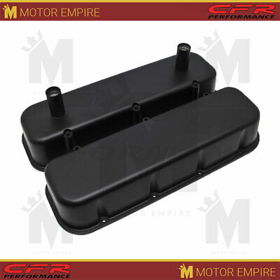 Fits 65-95 Chevy Bb Racing Valve Covers Powder Coated Matte Black Alumi W/ Tubes