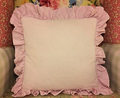 Bella Notte Velvet With Satin Ruffle Throw Pillow In Petal Pink W/feather Insert