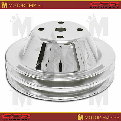 Fits 1969-85 Chevy Sb Small Block Chrome Steel Water Pump Pulley Long (2 Groove)
