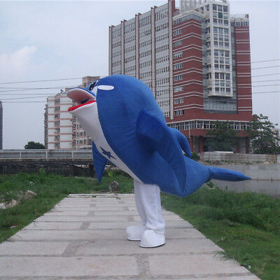 2018 Hot Dolphin Mascot Walking Animals Adult Costume Cartoon Cosplay Suit Party