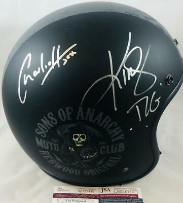 Charlie Hunnam & Kim Coates Signed Sons Of Anarchy Motorcycle Helmet Jsa Coa 317