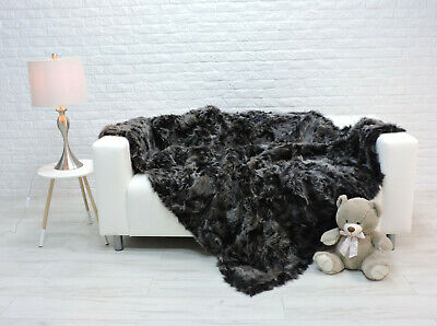 Luxury Real Toscana Fur Blanket Throw Grey Sofa Bed Cover 254