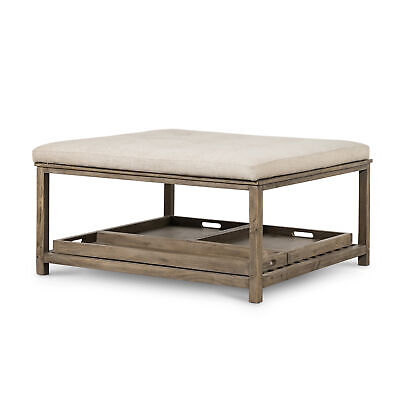 """40.5"""" W Coffee Table Ottoman Reclaimed Pine Removable Trays Cotton Linen Top"""