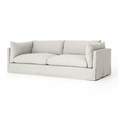 """90"""" L Sofa Pillow Inspired Cushions Durable Stain Resistant Crypton Fabric White"""