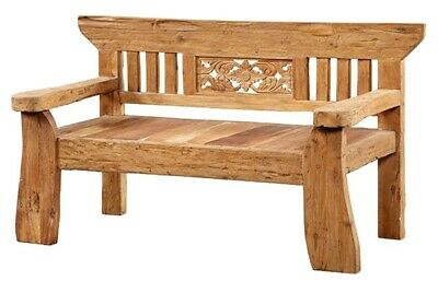 "62"" L Bench Rustic Hand Crafted Solid Wood One Of A Kind Carved Floral Detail"