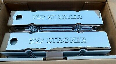 Small Block Chevy Sbc 327 Stroker Laser Engraved Chrome Valve Covers