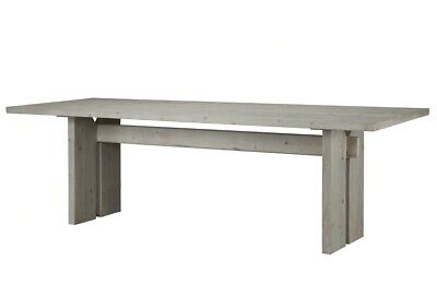"""94"""" L Azelio Dining Table Traditional White Pine Solid Wood Grey White Finish"""