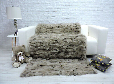 Luxury Real Blue Fox Blanket Throw Sofa Bed Cover Double Size #290