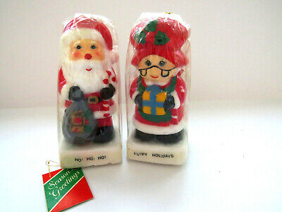 Santa And Mrs Claus Christmas Candles Figurines New Unused Candle Gr