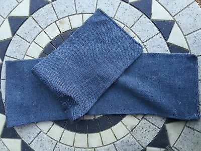 X2 New Vintage 1960s Swedish Blue Grey Wool Scarfs / Hats Military Clothing