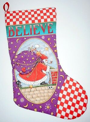 Mary Engelbreit Christmas Stocking Believe Santa And Chimney Purple 16 Inches