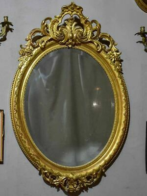 "Very Large Oval French Mirror With Gilded Frame And Crest 32¼"" X 48½"""