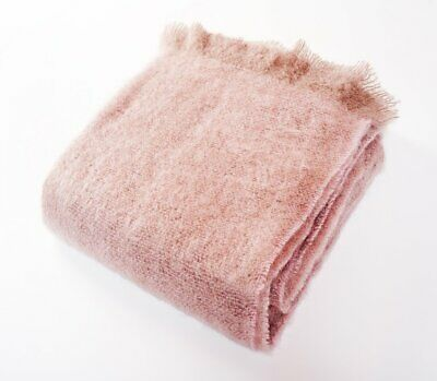 Mohair Wool Blend Throw Blanket Soft Rose Pink Harlow Henry Us Chemical Free Eco