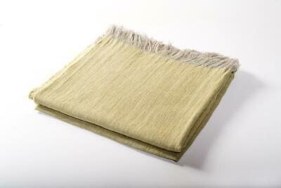 100% Linen Throw Blanket Citron Fringed Harlow Henry Chemical Free Eco