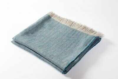 100% Linen Throw Blanket Turquoise Blue Harlow Henry Chemical Free Eco