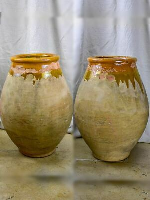 Pair Of Mid Century French Olive Jars - Biot