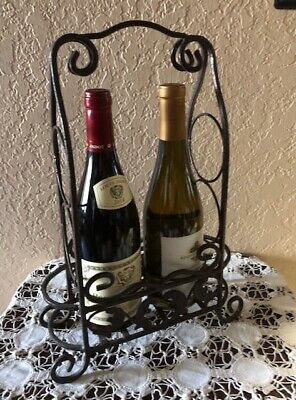 Very Nice Ornate Iron Counter Top Wine Rack  Or Rolling Pin Display, Very Unique