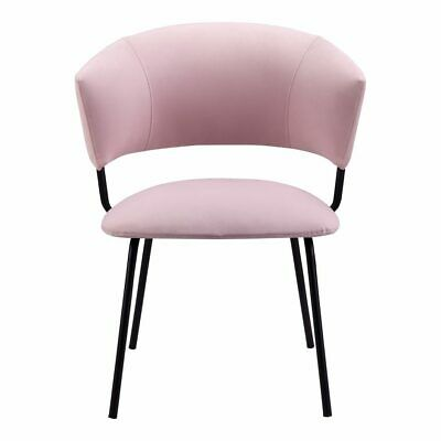 """23"""" W Set Of 2 Adelle Dining Chair Pink 100% Polyester Steel Frame Modern"""