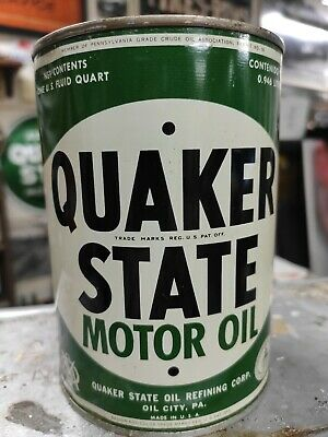 Full Vintage Quaker State Motor Oil Old 1 Qt. Tin Can
