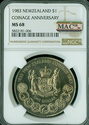 1983 New Zealand Dollar Coinage Ngc Mac Ms-68 Pq Finest Graded Spotless .