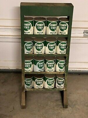 Original Vintage Quaker State Motor Oil Can Rack With Oil Stand Metal Sign Gas
