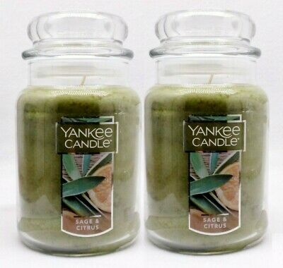 2 Yankee Candle Sage & Citrus Scented Wax Home Fragrance 1-wick Candle Jar