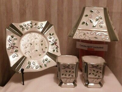4 Pieces Yankee Candle Holiday Sprig Design * Plate, Shade, 2 Votive Holders