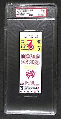 1976 World Series Game 3 Ticket Reds 1st National Anthem @ Yankee Stadium Psa 5