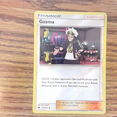 Guzma Trainer 115/147 BURNING SHADOWS Pokemon Reverse Holo M 122319