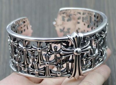 925 Solid Sterling Silver Big Heavy Wide Cross Crucifix Cuff Bangle Bracelet