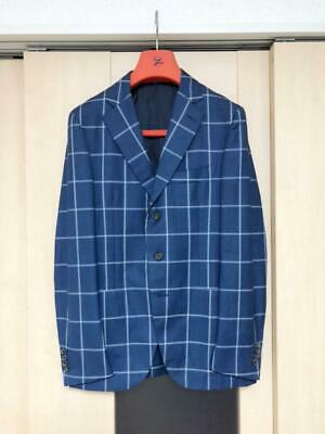 Isaia 3 Buttons Jacket With Accessories Plaid Wool Navy Size M From Japan