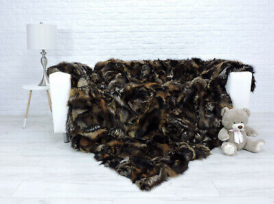 Luxury Real Silver Fox Blanket Fur Throw King Size Bed Cover 322
