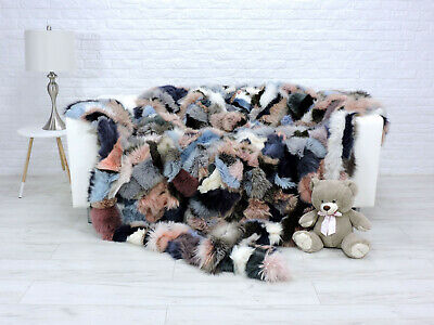 Luxury Real Fox Blanket Fur Throw King Size Sofa Cover Multicolor 323