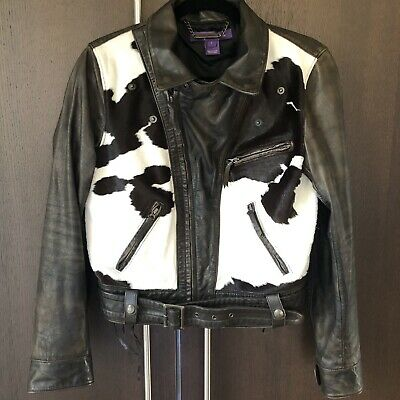 ralph lauren collection leather hadley jacket size 8 cow haircalf brown 50th