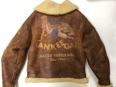 Vintage Avirex B-3 Yankee Gal Leather Jacket Brown Size 36 Made In Usa F/s ♯d-05