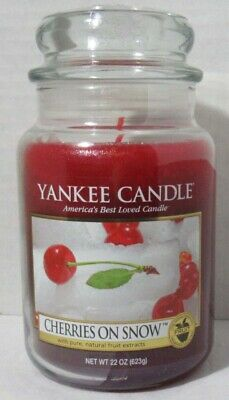 Yankee Candle Large Jar Candle 110-150 Hrs 22 Oz Cherries On Snow Red Fruit