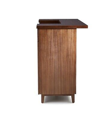 Crate And Barrel Maxine Walnut Standing Home Bar With Stainless Steel Top