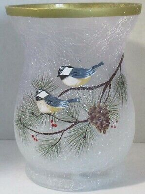 Yankee Candle Large Jar Holder Winter Hurricane Winter Birds Blue Frosted Gold