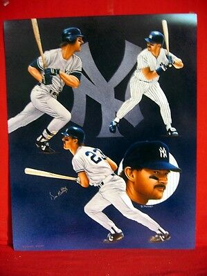 N Y Yankee Don Mattingly Autographed 16 X 20 Numbered Limited Edition Art Litho
