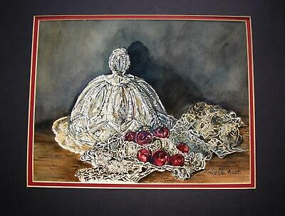 Vintage Cherries Cut Etched Glass Pie Plate Dome Doily Watercolor Painting Flaws