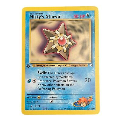 Pokemon Card 1st Edition Misty's Staryu 90/132 Gym Heroes Common  - NM